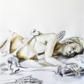 Studio of two reclining figures - Ink and watercolour on paper - 50x70cm - 2012