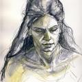 Sofia (1) - Fineliner & watercolor on paper - 2012